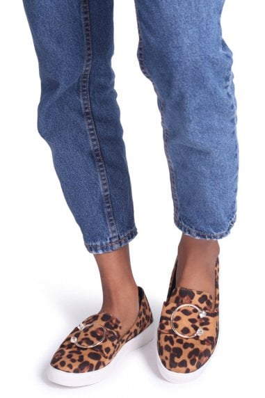 Melina Brown Leopard Suede Slip On Skater With Horseshoe Bar And Stone Detail