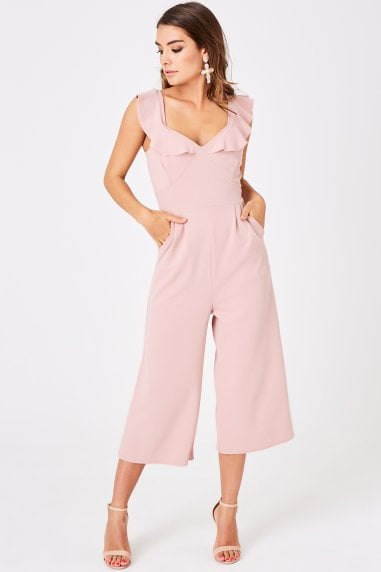 Veto Dusty Pink Frill Culotte Jumpsuit