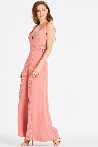 Miranda Orange Lace Plunge Maxi Dress
