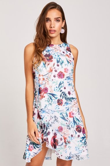 dcb69c64e4b Ria Floral-Print Frill Shift Dress