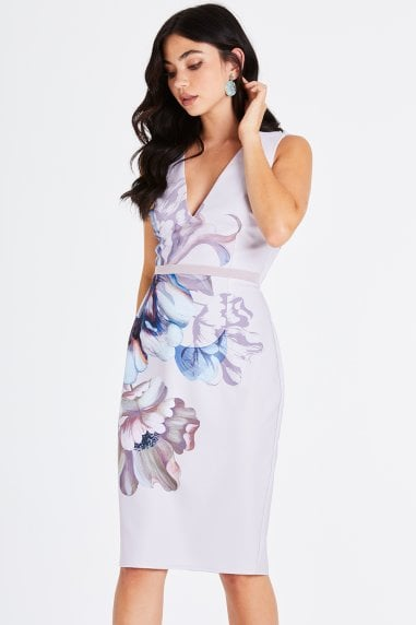 Corina Floral Plunge Pencil Dress