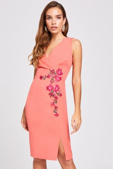 Casey Grapefruit Embroidered Dress