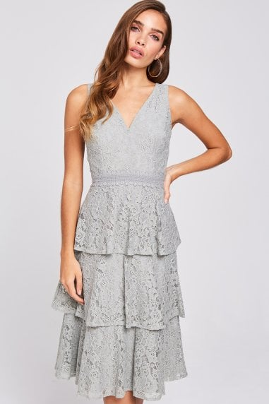 Lissa Waterlily Tiered-Lace Midi Dress