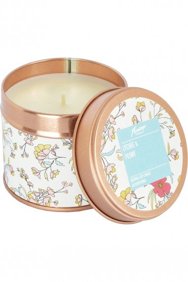 Lychee And Peony Floral Rose Gold Tin Candle