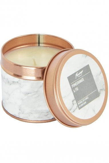 Pomegranate And Fig Marble Rose Gold Tin Candle