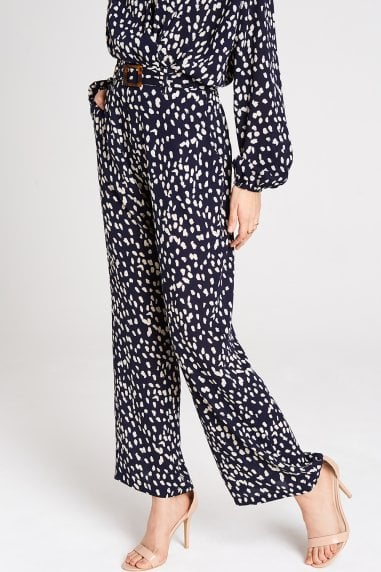 Aimee Navy Spot Wide Leg Trousers Co-ord