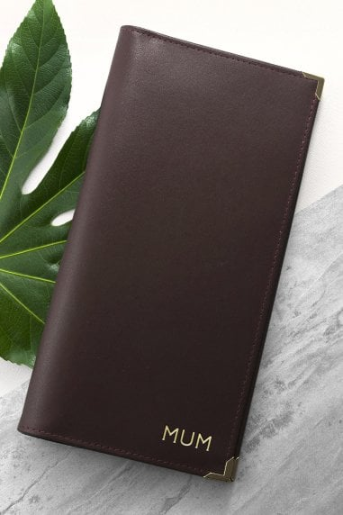 Brown Personalised Luxury Leather Travel Wallet
