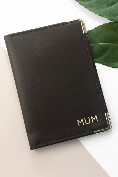 Brown Personalised Luxury Leather Passport Cover