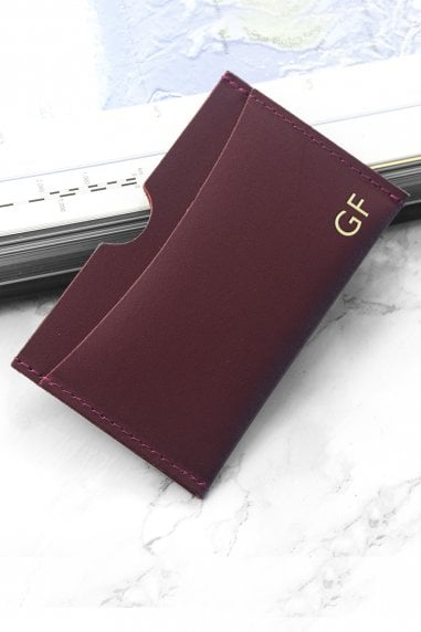 Burgundy Personalised Luxury Leather Card Holder