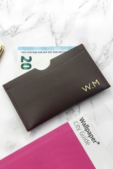 Brown Personalised Luxury Leather Card Holder