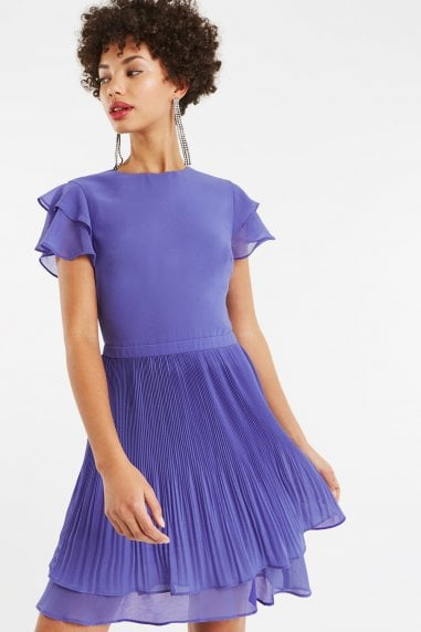 Mid Blue Chiffon Pleated Skater Dress