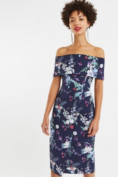 Multi Blue Bloom Bardot Midi Pencil Dress