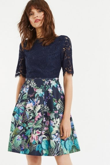 Multi Blue Lace Top Bloom Skater Dress