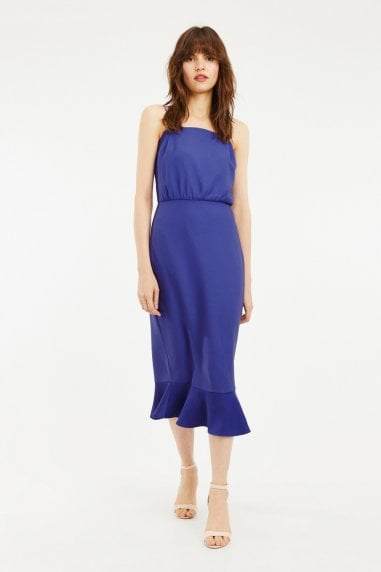 Rich Blue Square Neck Satin Column Midi Dress