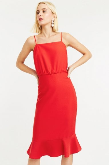 Mid Red Square Neck Satin Column Midi Dress