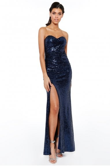 Navy Strapless Sequinned Split Maxi Dress