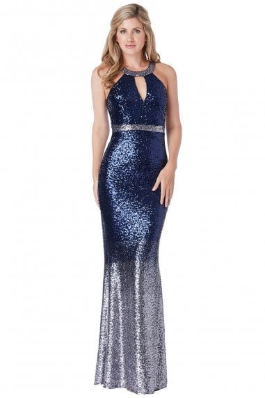 Navy Ombre Halter Neck Sequin Maxi Dress