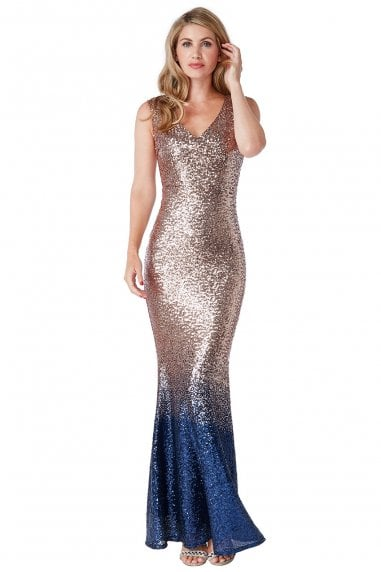 Champagne Sequin and Chiffon Ombre Maxi Dress