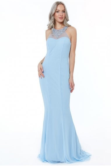 Powderblue High Neck Embellished Maxi Dress