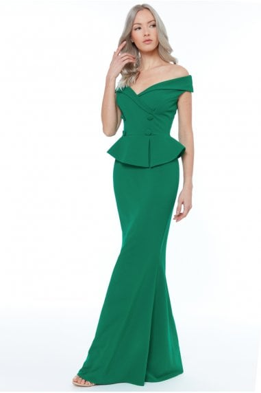 Emerald Bardot Crossover Maxi Dress