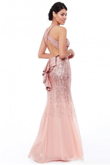 Peach Criss Cross Back Sequin Maxi Dress