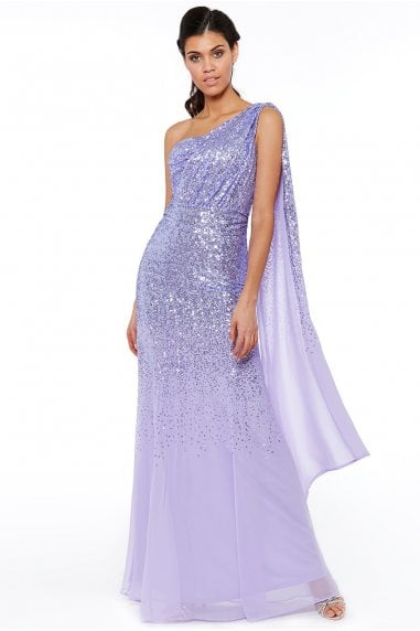 Lavender One Shoulder Sequin & Chiffon Maxi Dress