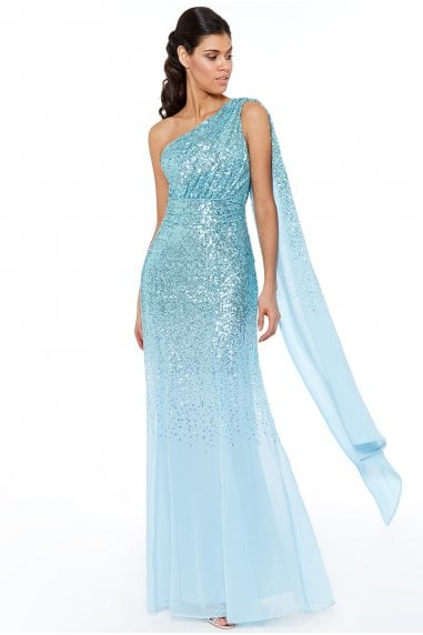 Powderblue One Shoulder Sequin & Chiffon Maxi Dress