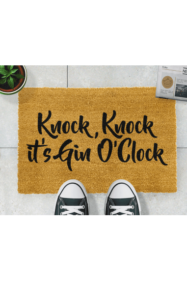 Knock Knock It's Gin O'Clock Grey Doormat