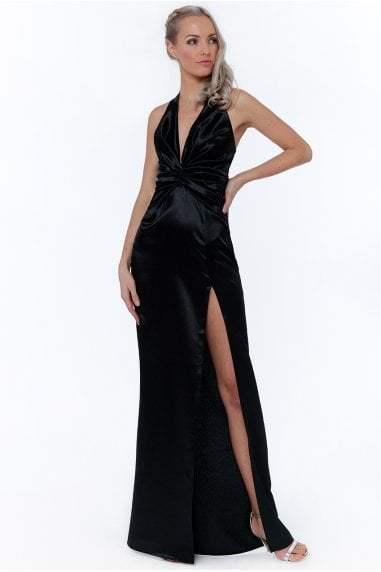 Black Knot Front Halter Neck Maxi Dress