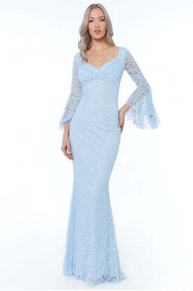 Powderblue Frill Sleeve Maxi Dress