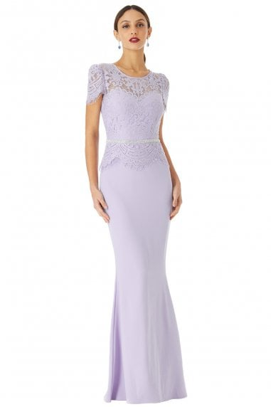 Lavender Lace Bodice Cap Sleeve Maxi Dress