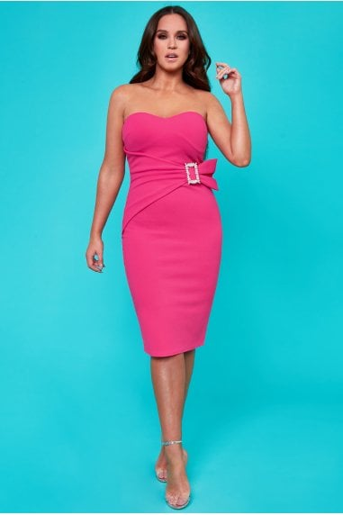 Vicky Pattison Cerise Buckle Bandeau Midi Dress
