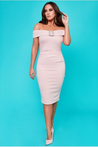 Vicky Pattison Nude Buckle Bardot Midi Dress