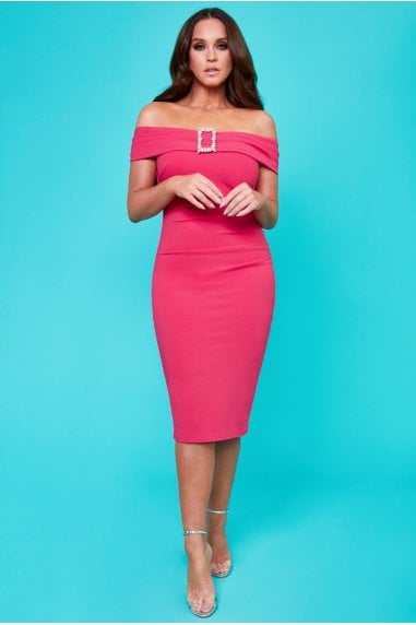 Vicky Pattison Cerise Buckle Bardot Midi Dress