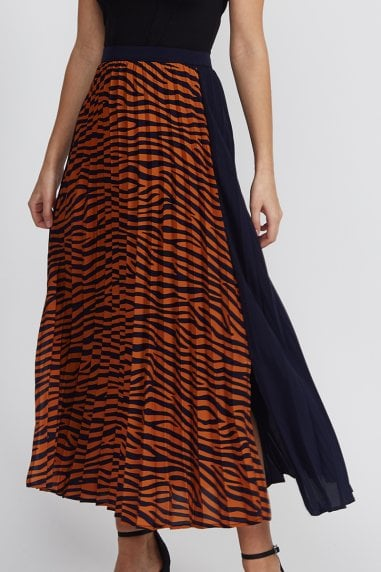 Liquorish Tiger Print Midi Pleated Skirt