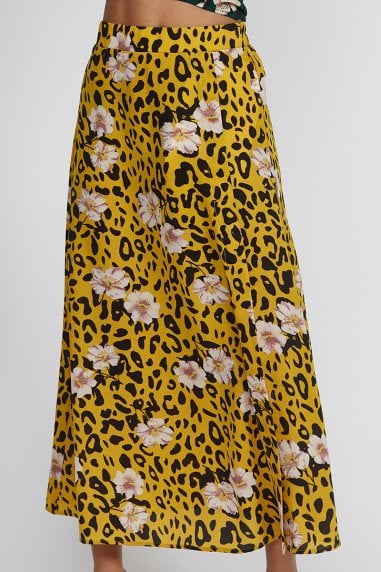 Yellow Animal Floral Skirt
