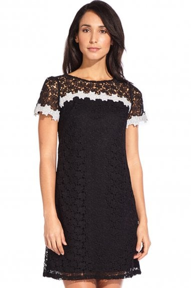 Ditsy Black Floral Lace Shift Dress