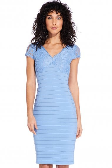 Rio Blue Lace Top Banded Sheath Dress