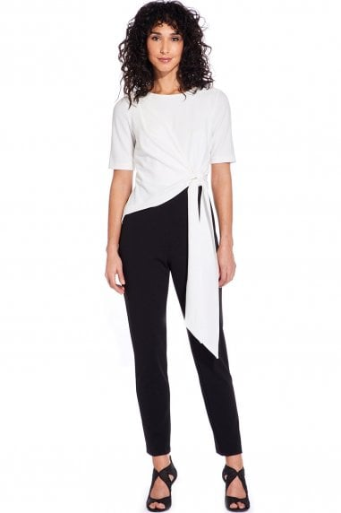 Black And Ivory Colour Block Knit Crepe Jumpsuit