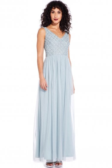 Aqua Dust Beaded Long Dress