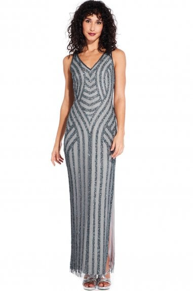 Pewter Beaded Long Gown