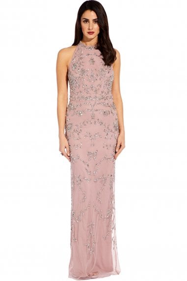 Dusted Petal Beaded Halter Dress