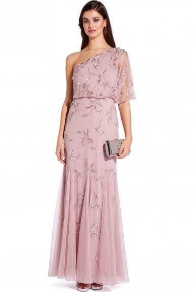 Dusted Petal Beaded Long Dress