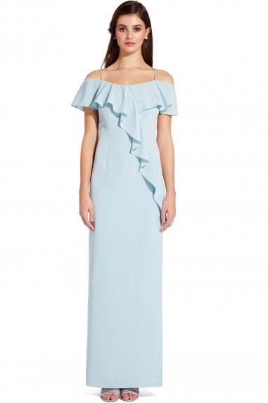 Aqua Dust Flounce Crepe Dress