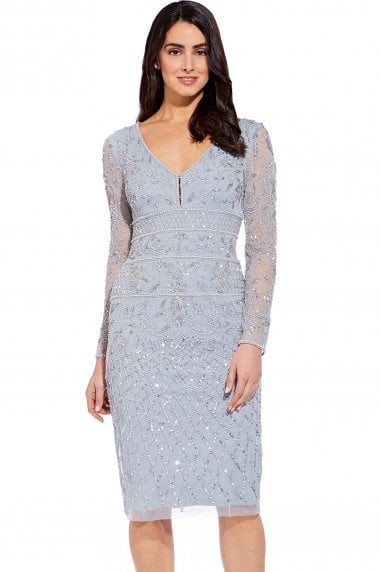 e21d7c5b826c Blue Heather Beaded Midi Sheath Dress