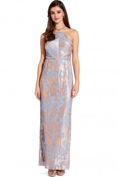 Multi Slate Pleated Foil Maxi Dress