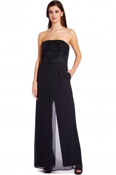 Black Strapless Crepe Jumpsuit
