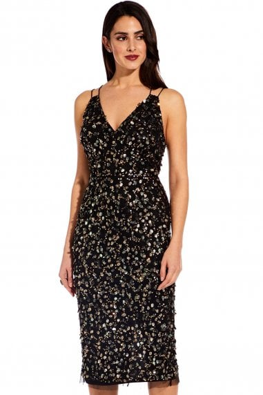 Black Multi Beaded Midi Dress