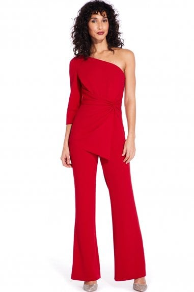 Dark Cherry One Shoulder Jumpsuit