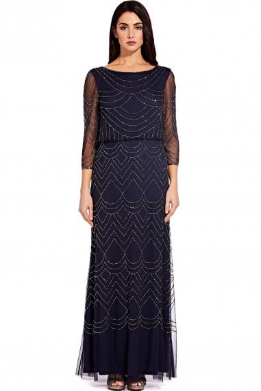 Navy Bead Mesh Maxi Dress